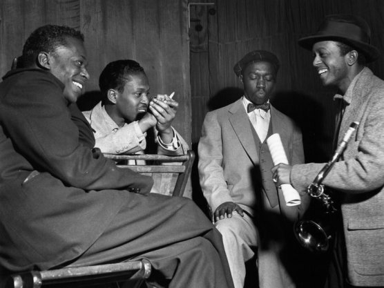 Jimmy Heath and friends at a session at New York's WOR Studios in 1953. Left to right: Miles Davis, Kenny Drew, Art Blakey, Jimmy Heath. Temple University Press / Jimmy Heath collection
