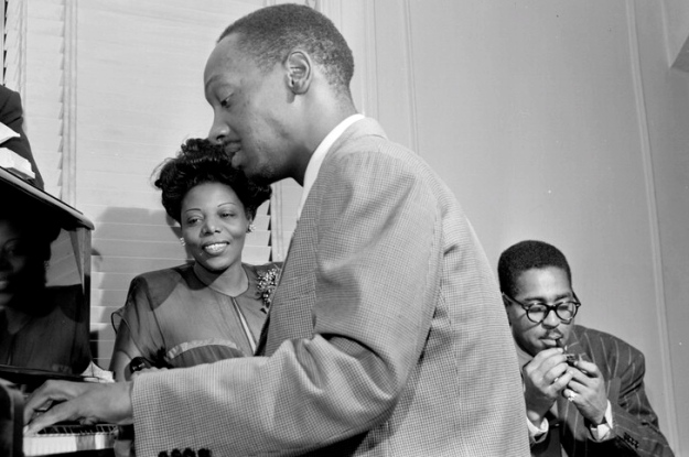 Photo above of Mary Lou Williams, Tadd Dameron, and Dizzy Gillespie by OKmusic